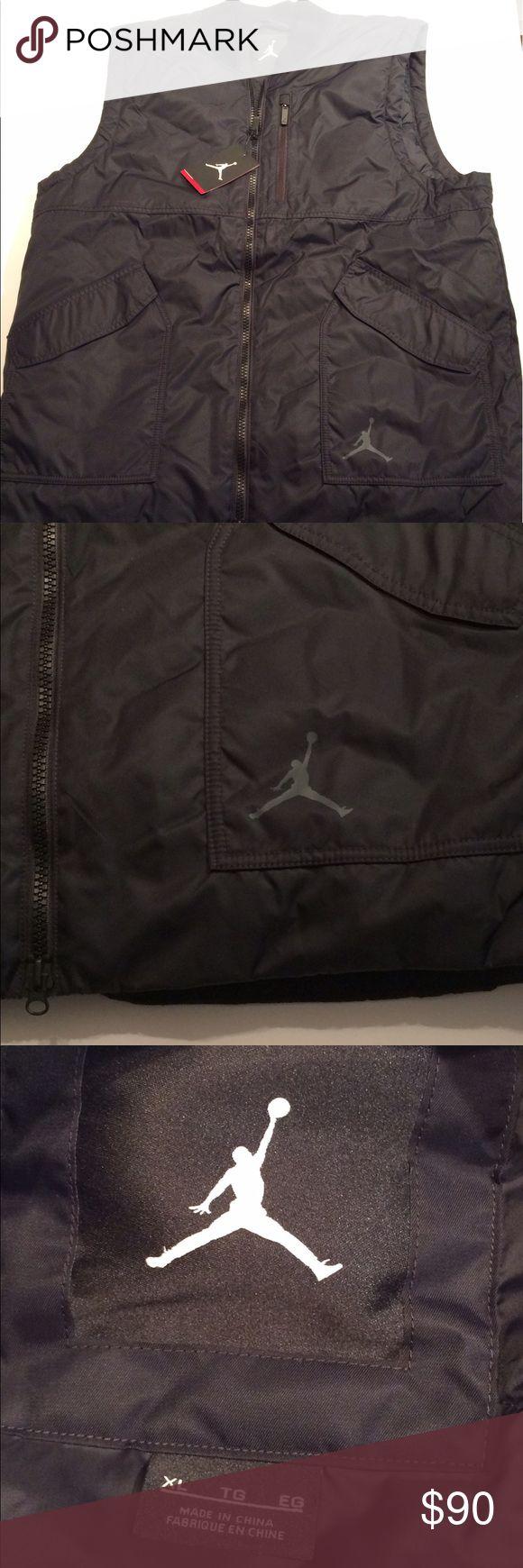 Retro Jordan vest All black with gray jumpman logo on left pocket. Available in XL OR L Nike Jackets & Coats Vests