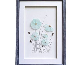 Vidrio de arte de mar, nuevo regalo de inauguración de la casa hogar, arte de pared de baño, decoración para el hogar Coastal, flores de color azul mar de vidrio, idea de regalo de cumpleaños, decoración cuarto de niños