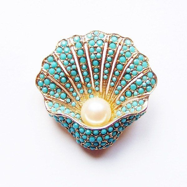 Turquoise and seed Pearl Antique Brooch