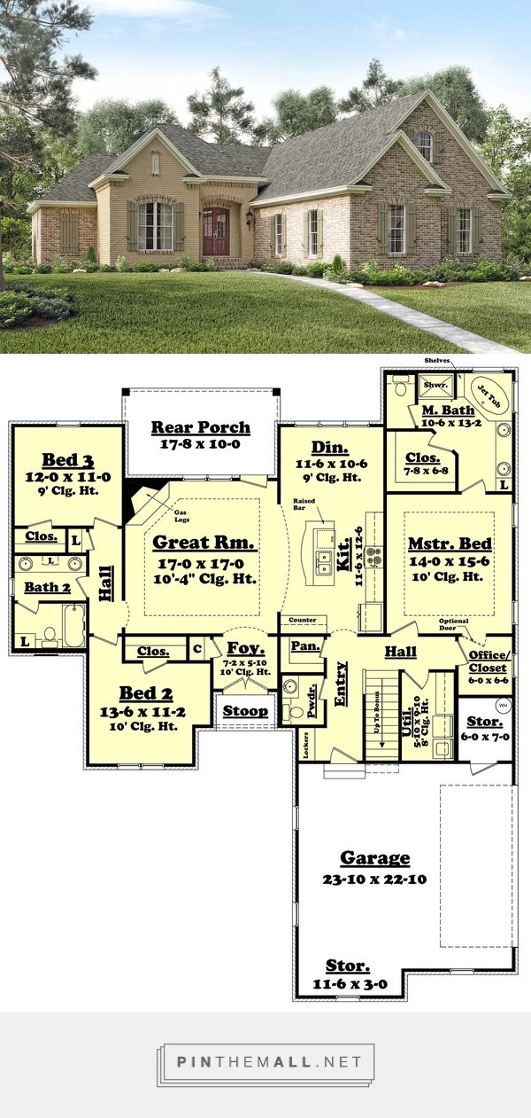 European Style House Plan - 3 Beds 2.5 Baths 1892 Sq/Ft Plan #430-119 - created via https://pinthemall.net
