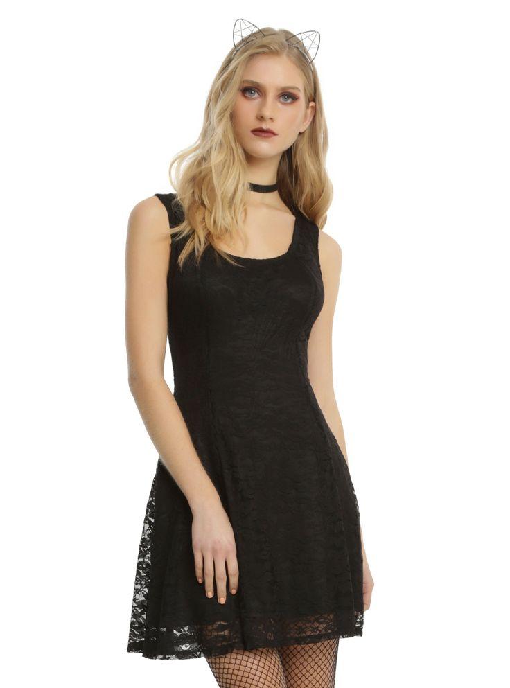 Black Lace Skull Back Fit & Flare Dress | Hot Topic