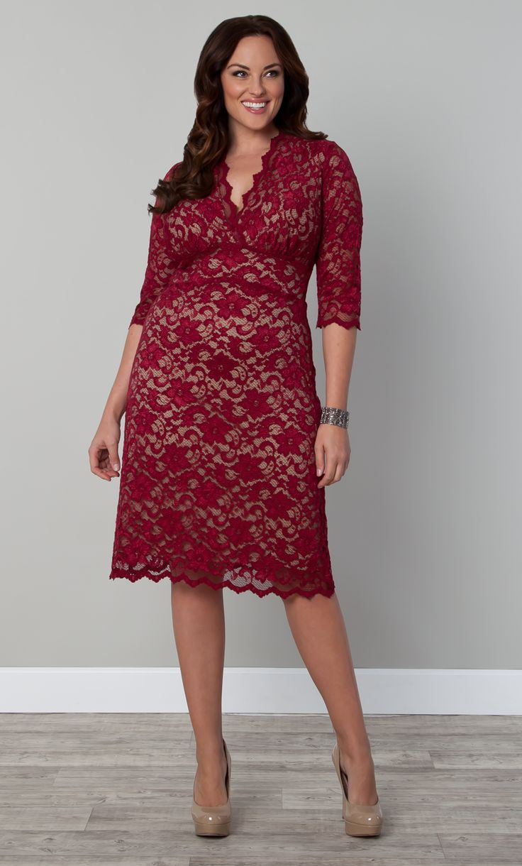 Our best-selling plussize Scalloped Boudoir Lace Dress is now in a gorgeous red option that's perfect for the upcoming holidays. Still made of a soft stretch lace, this dress embraces all of your curves while keeping you comfy and feeling beautiful. #KiyonnaPlusYou #Plussize