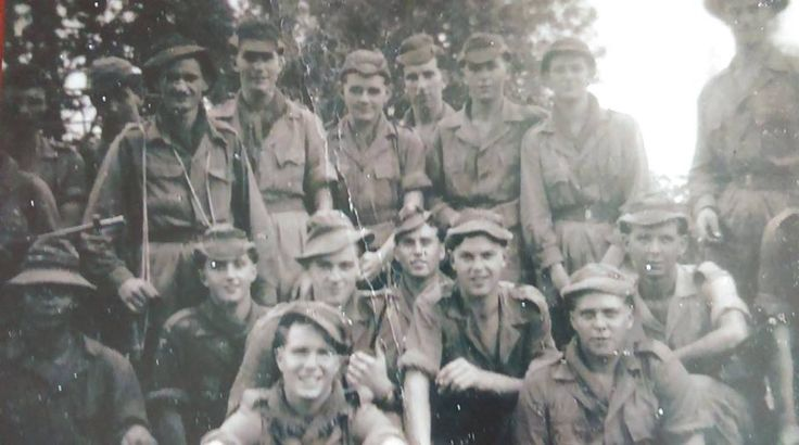 7 Pl C Company 2RWF. Tamping Malaya 1955. Front left is Cpl Roberts.