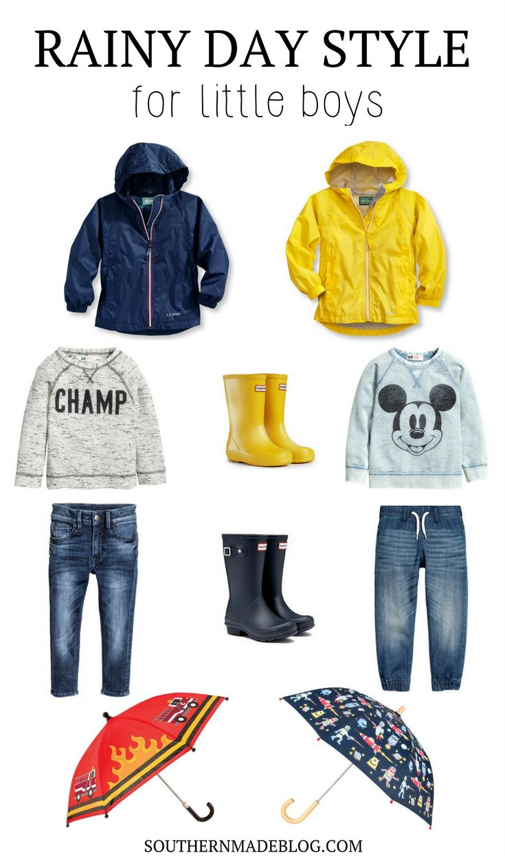 Rainy Day Style for Little Boys   Southern Made Blog  The perfect little outfits for jumping in puddles on a rainy day! LL Bean rain jackets, sweatshirts, jeans, fun umbrellas, and hunter rain boots for the win!