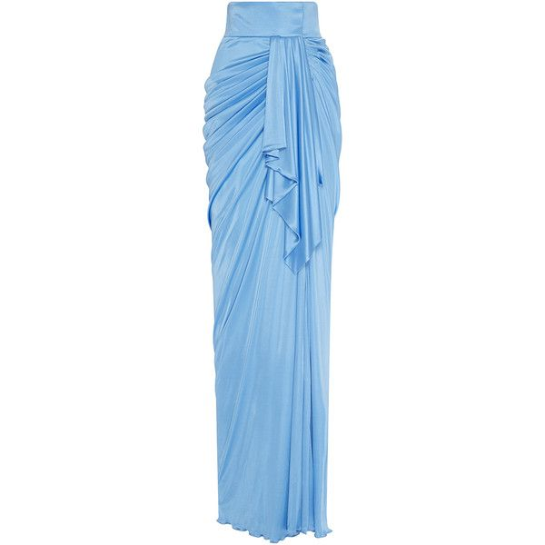 Fausto Puglisi Turquoise Draped Long Skirt ($2,435) ❤ liked on Polyvore featuring skirts, light blue maxi skirt, light blue skirt, blue maxi skirt, long draped skirt and long light blue skirt