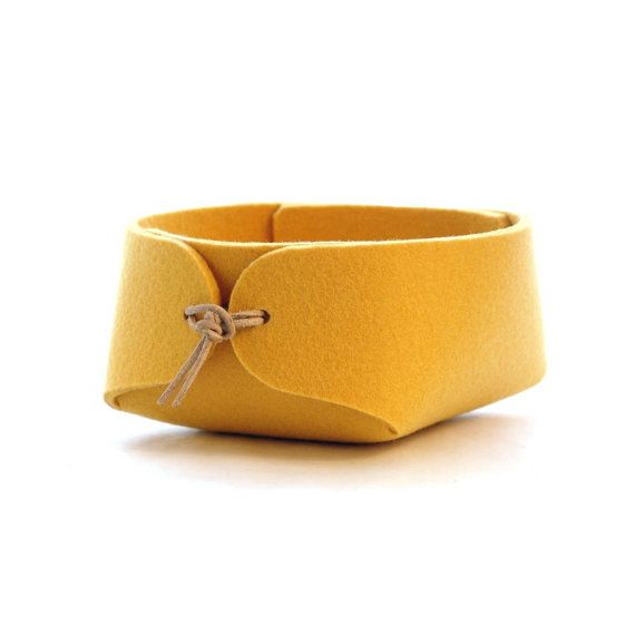 Yellow felt basket with leather strap closure - Japanese inspired simple jewelry organizer in wool felt - bedside organizer