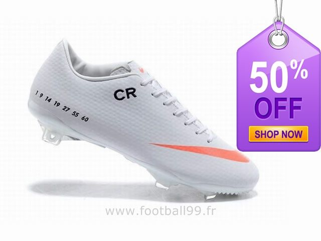 Chaussures de foot nike Mercurial Vapor IX FG Cristiano Ronaldo Blanc Orange New Mercurial