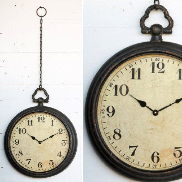 Pocket Watch Wall Clock With Chain Perfect For A Busy Space Or An Empty Corner Our Pocket Watch Wall Clock With Chain Clock Decor Large Wall Clock Wall Clock