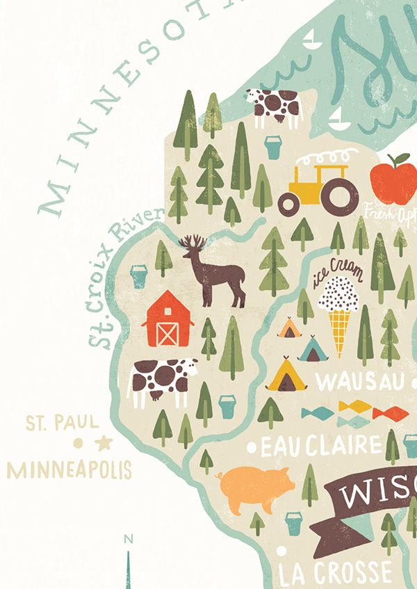 Map of Wisconsin on Behance