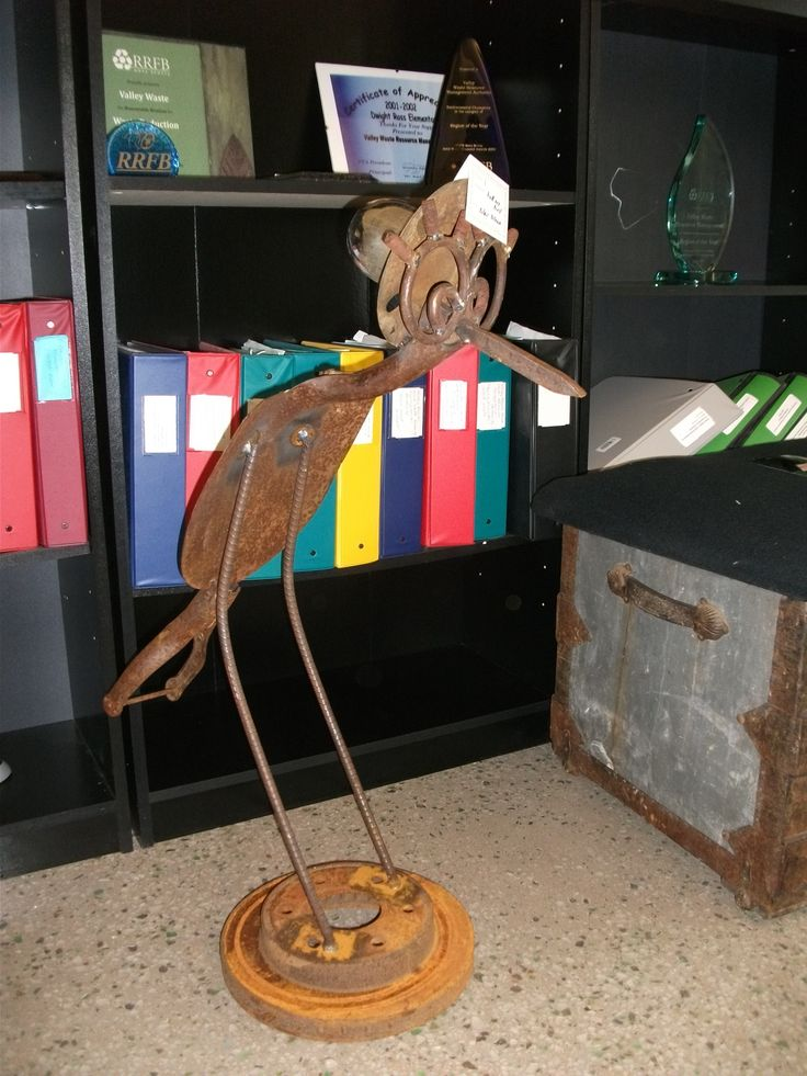 Bird sculpture made from shovel blade and other scrap metal. Entry submitted by Blair Brown