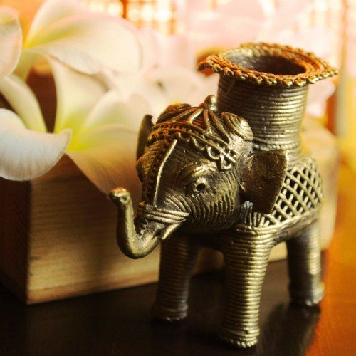 Dhokra Elephant Candle Stand
