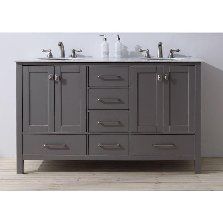 Stufurhome 60 inch malibu grey double sink bathroom vanity - 60 inch unfinished bathroom vanity ...