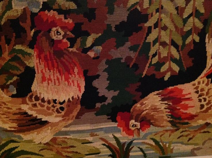 needle point rooster and hen