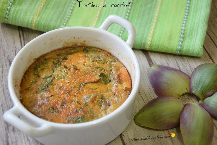 Tortino di carciofi: uno sformato a base di carciofi e uova molto stuzzicante che puo' essere servito come contorno o come secondo vegetariano!
