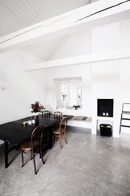 love the white walls with concrete floors: Interior Design, Dining Rooms, Dining Table, Floor Design, Interiors, Decorating Ideas, Concrete Floors, House Idea, Space