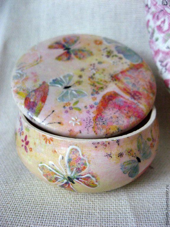 """Купить Шкатулка """"Бабочки"""" - шкатулка для украшений, шкатулка декупаж, шкатулка для мелочей, шкатулка ручной работы"""
