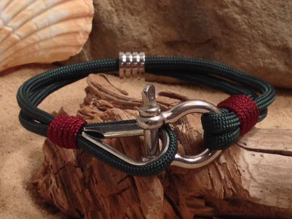 Nautical  Rope Paracord Bracelet with Stainless Steel Bead and Bow Shackle, Thimble, and Whipped Ends