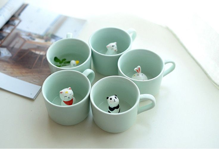 Small ceramic milk mug with animals cute cartoon three-dimensional coffee cup