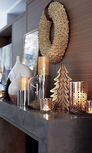 Now & Forever | Crate and Barrel // Pair sleek and rustic elements. Group accents of stainless steel and warm walnut with natural branches, painted glass and ceramic vases.     2. Mix your metals: gold, silver and bronze.     3. Candlelight is key. Scatter gold pillars, hurricanes and votives to give the room a warm glow.