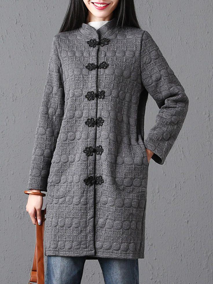 Vintage Frog Button Women Coat at Banggood