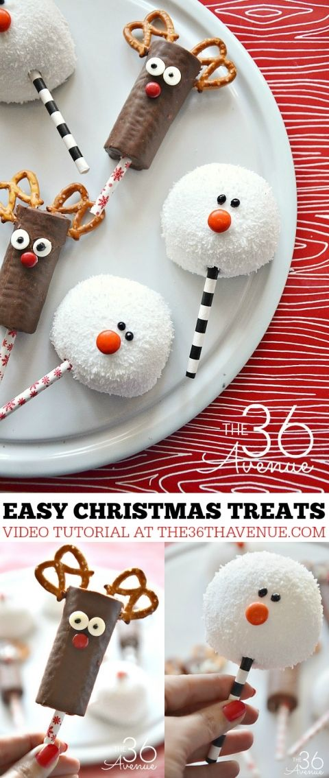 Christmas Recipes - These adorable Christmas Treats are perfect for neighbor gifts. You can make these reindeers and snowmen in minutes and they are adorable for Christmas Parties or as a quick and easy Christmas dessert. PIN IT NOW and make them later!
