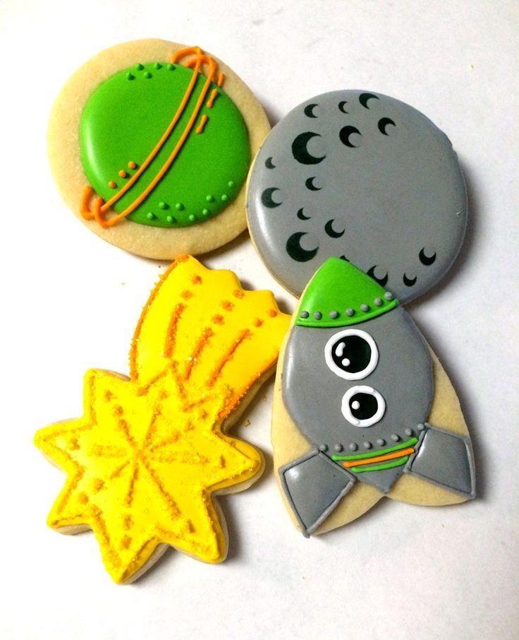 Space cookies, rocket cookies, planet and moon cookies