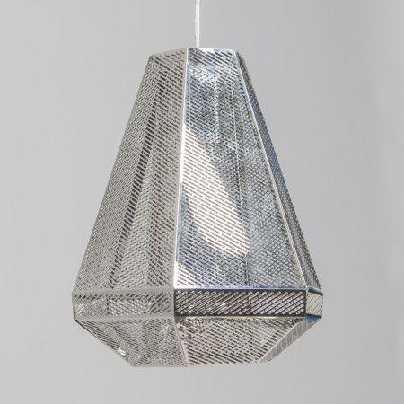 Lámpara colgante VINCE cromo- Lámpara colgante hecha con láminas de acero inoxidable muy finas. Las finas aberturas de las láminas proporcionan un efecto muy agradable.