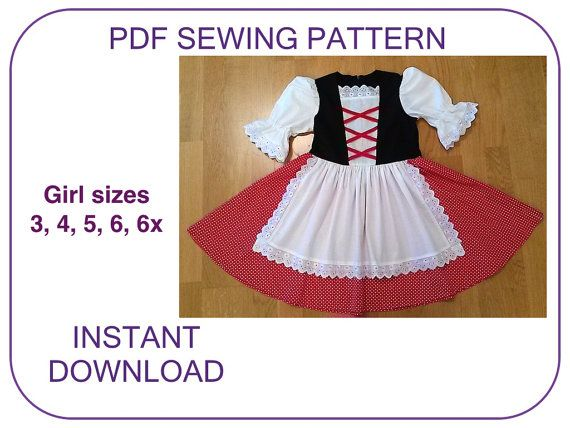DIRNDL Sewing pattern. Girls computer drafted Little Red Riding Hood Dirndl pattern. Instant download. Dirndl pattern for girls pdf pattern.