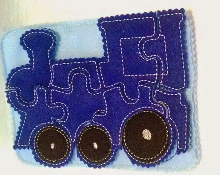 Blue Train felt quiet book puzzle with template carry case