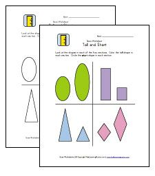 Measurement New Entrants on Tall Short Big Small Attributes Worksheet For Kindergarten