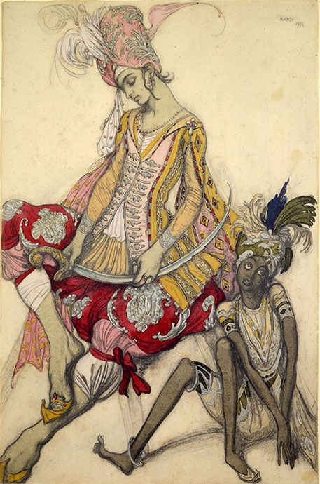 Costume design by Leon Bakst for La Péri, 1911