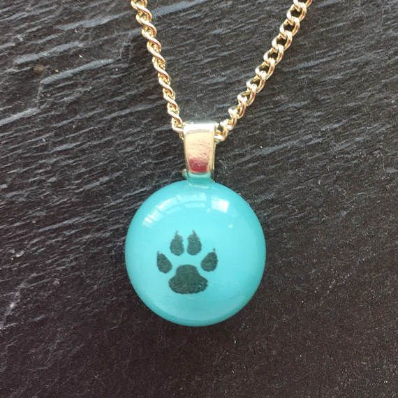 Blue Paw print necklace dog necklace paw print pendant