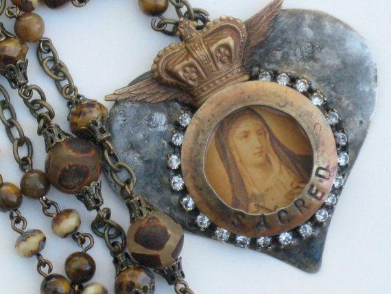 Sacred Heart of Mary Necklace by SacredHeartDesign on Etsy, $58.00