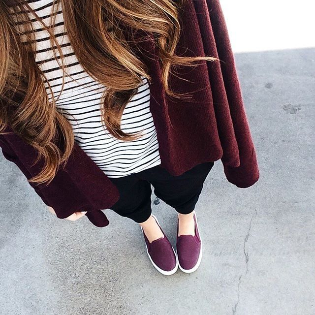 burgundy cardigan, striped shirt, black pants + burgundy slip ons