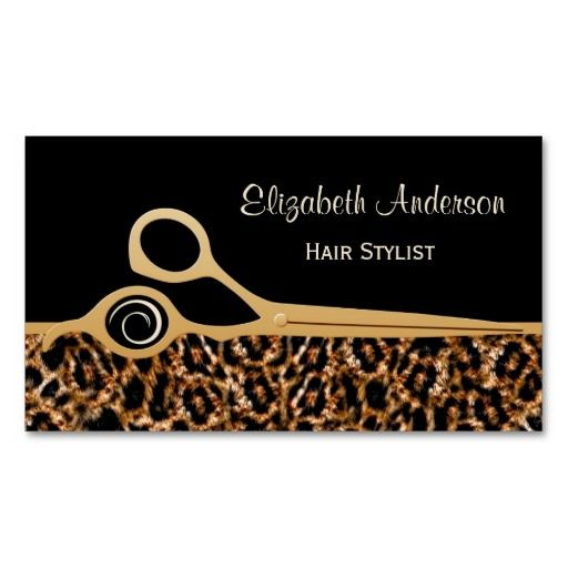 Fashionable and stylish hair salon business cards for professional hair stylist with a modern and trendy brown leopard print and embellished with a pair of chic gold hair cutting scissors. These elegant luxury animal print business cards can be personalized by adding the name of the beautician or hair dresser and their salon or beauty boutique. #sold