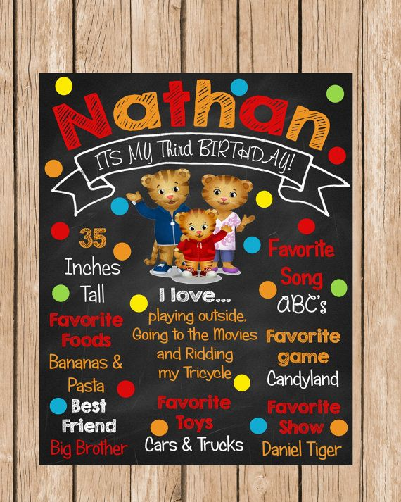 Daniel Tiger Chalkboard Birthday Sign by ChalkYourWay on Etsy, $15.00