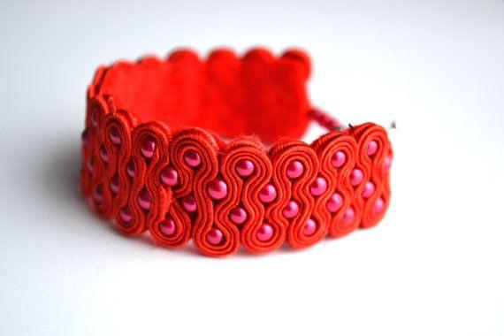 Soutache Bracelet with plastic beads by StylazkaSoutache on Etsy
