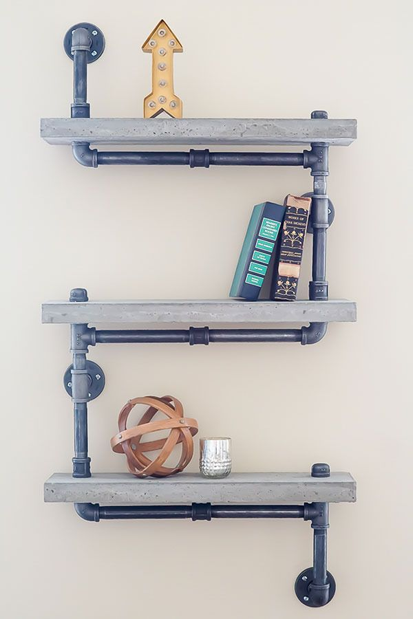 how to make an industrial and practical pipe and concrete shelf unit - Diy Office Decor