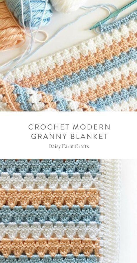 Free Pattern – Crochet Modern Granny Blanket #crochet