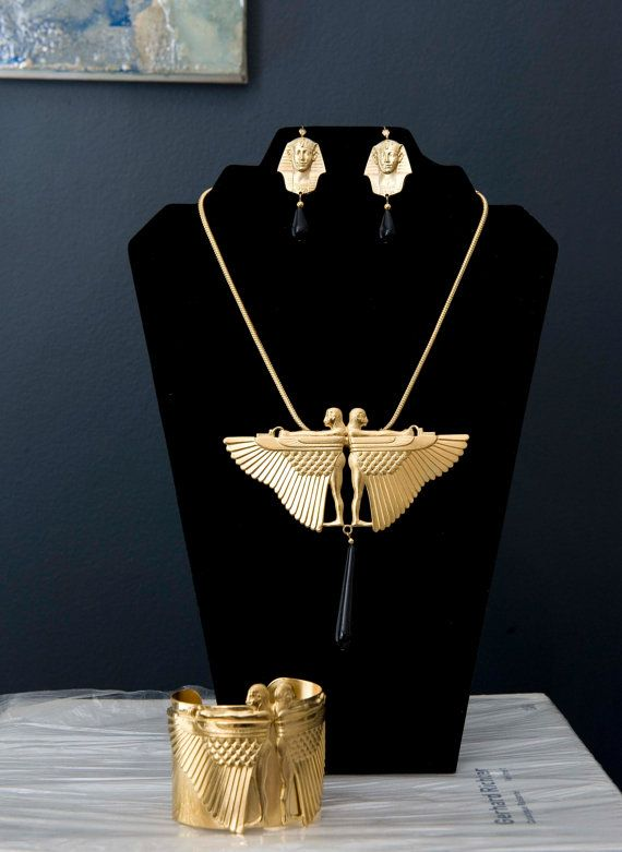 Eygptian Revival Gold Tone Winged two male Cuff, Earrings and Necklace