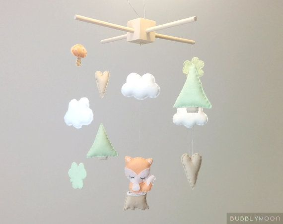 Fox Baby Mobile, Modern Nursery Decor, Woodland Baby Nursery Mobile, Neutral Baby Mobile- Cot/ Crib Mobile - Peach Nursery Decor