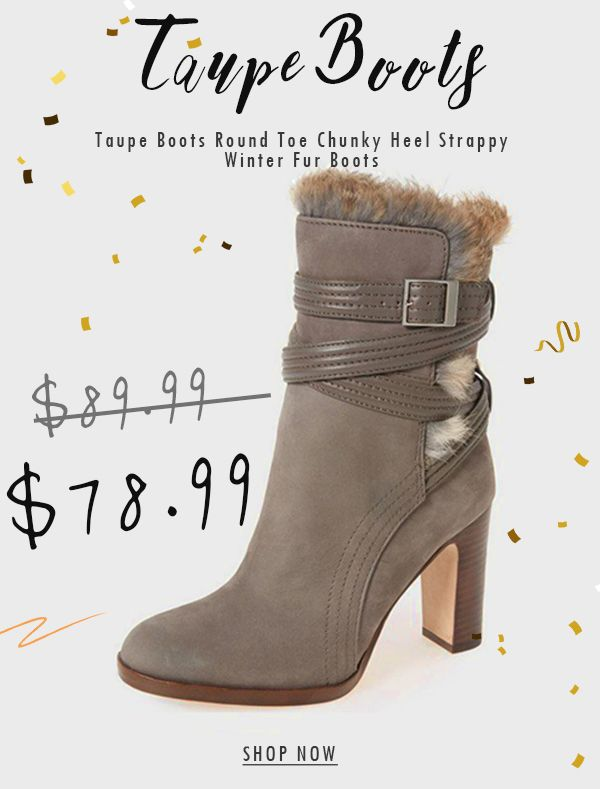 b21bd3af974 Taupe Boots Round Toe Chunky Heel Strappy Winter Fur Boots in 2019 ...