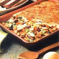 uit de oven : schotel met wortels, paprika, champignons en adukibonen met puree en seitan