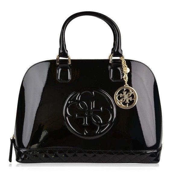 Guess Amy Shine Dome Bag ($110) ❤ liked on Polyvore featuring bags, handbags, guess purses, zipper handbag, embossed handbags, guess bags and zipper purse