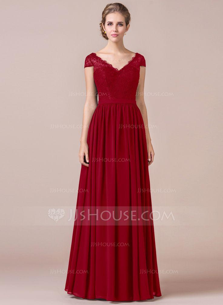 A Line Cap Sleeve Floor Length Chiffon Bridesmaid Dress