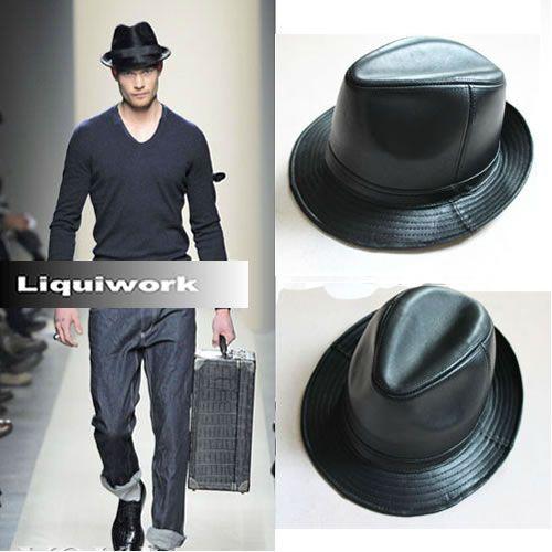 M L XL Black Sheepskin Leather Dress Fedora Hats for Men SKU-159009