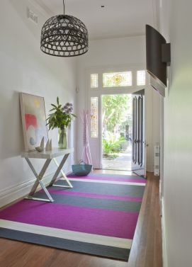Doherty Lynch's Armadale Residence entry hall with custom rug.