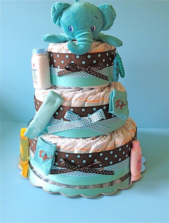 Elephant Diaper Cake  3 tier Diaper Cake   por PamperedBabyCreation, $65.00