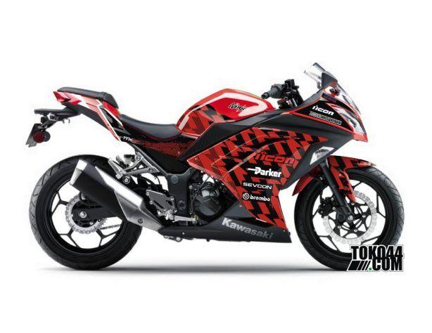 Sticker Modifikasi Kawasaki Ninja 250 Injeksi Merah - icon Sevcon.