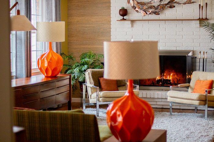 Iconic Pair Of Mid Century Honeycomb Orange Table Lamps Iconic Mid Mod Decor Orange Table Lamps Vintage Table Lamp Table Lamp #orange #table #lamps #for #living #room